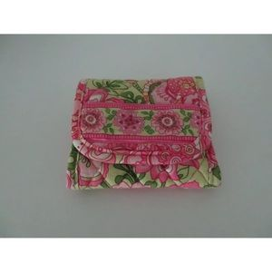 Vera Bradley Trifold Wallet Pink Green Floral